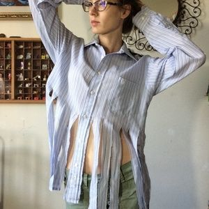Christian Dior Up-Cycled Button Up Shirt Fringe